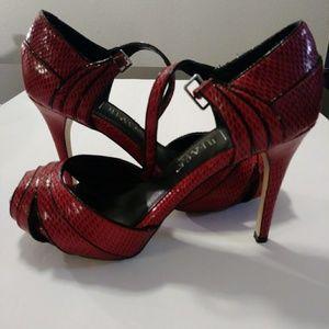 Burgundy leather high heels sandals
